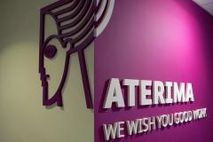 Logo 3D w recepcji ATERIMA